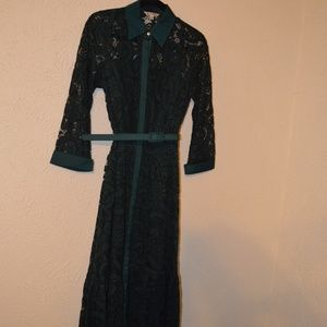 Nanette Lepore Belted Green Lace Midi Dress Size 2
